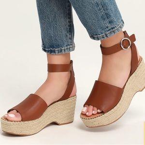Dolce Vita Leather Espadrille Platform Heels